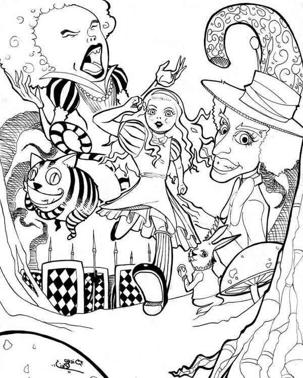 Alices Adventures In Wonderland Coloring Pages