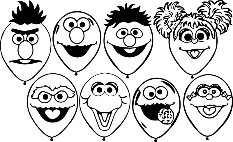 All Sesame Street Balloons Coloring Page