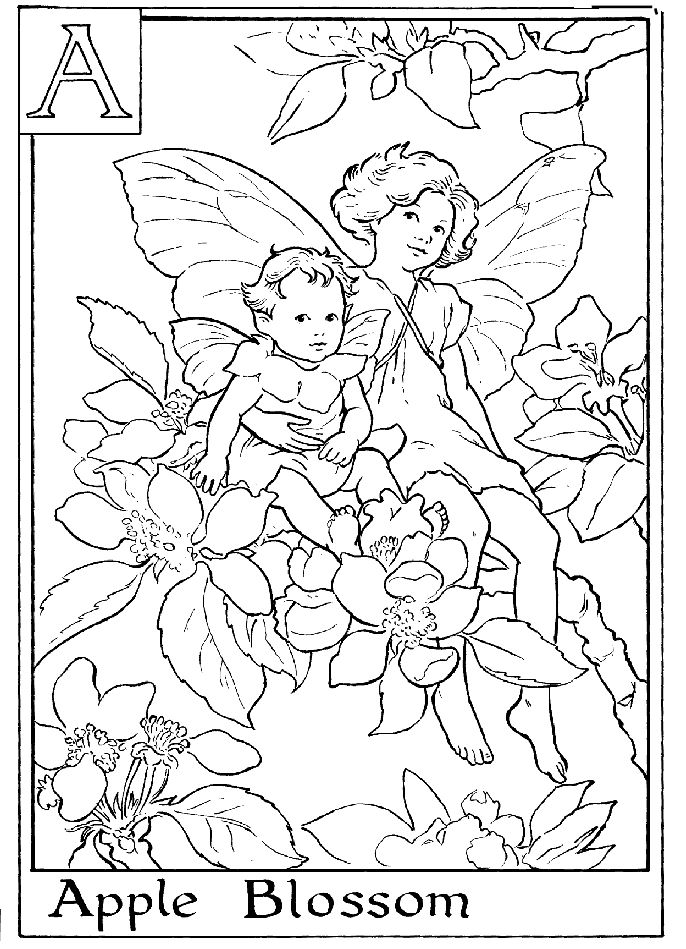 Alphabet Fairy Apple Coloring Page