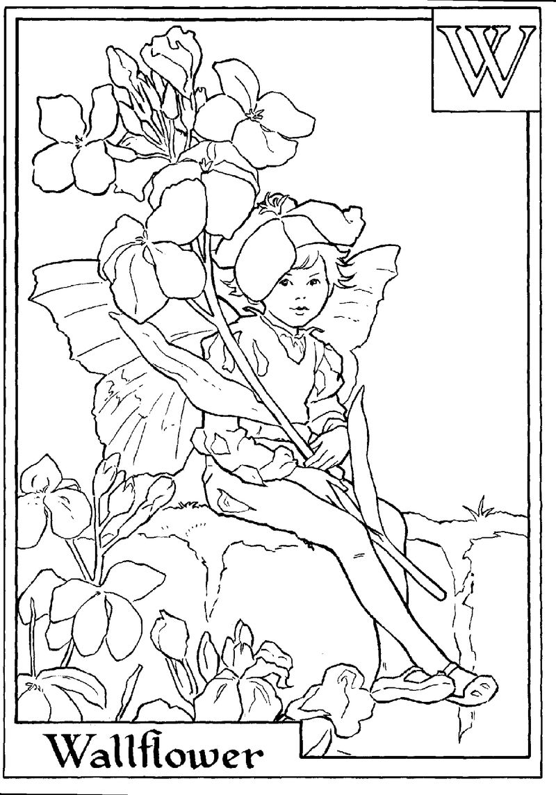 Alphabet Fairy Wallflower Coloring Pages