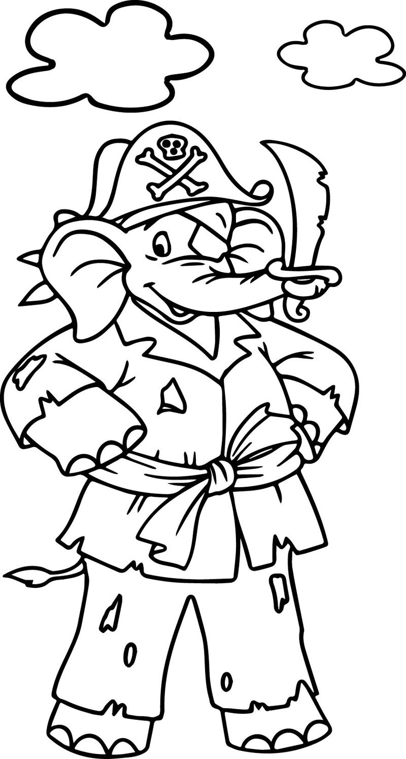 Amazing elephant pirate coloring page