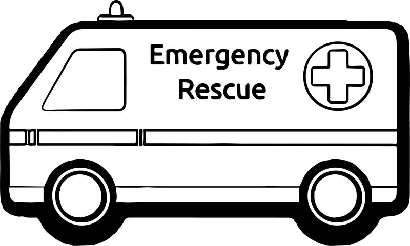 Ambulance Emergency Rescue Car Coloring Page