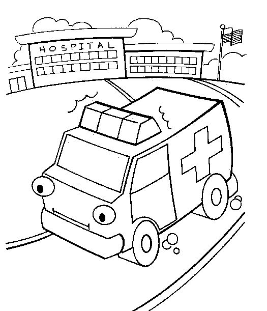 Ambulance Hospital Coloring Page