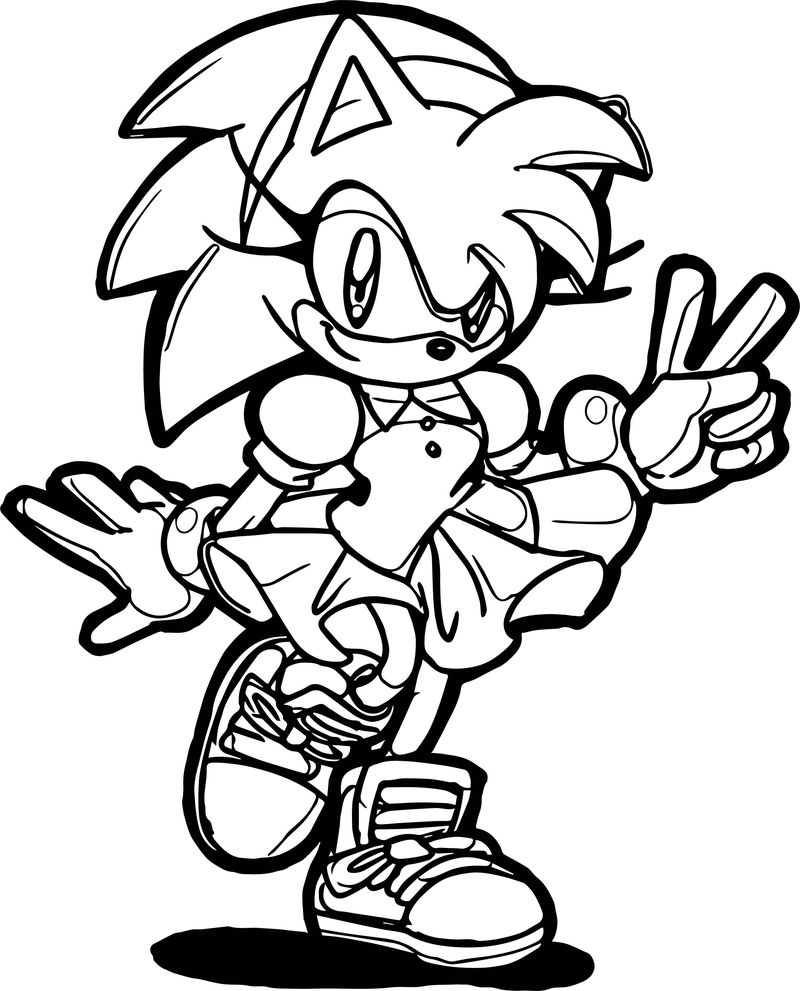 Amy rose two number coloring page