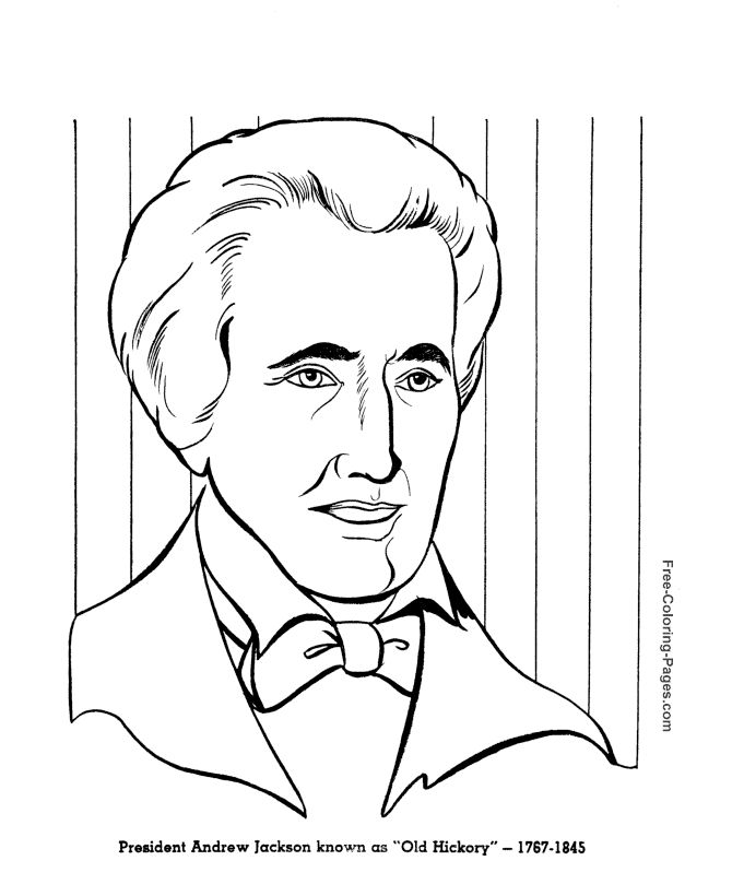 Andrew Jackson Presidents Day Coloring Page