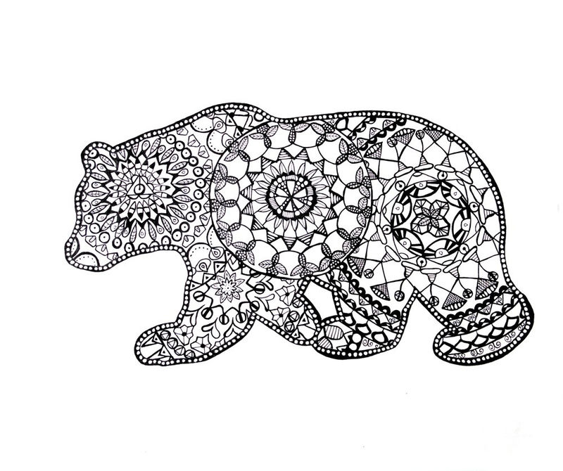 Animal Coloring Pages For Adults Bear 001