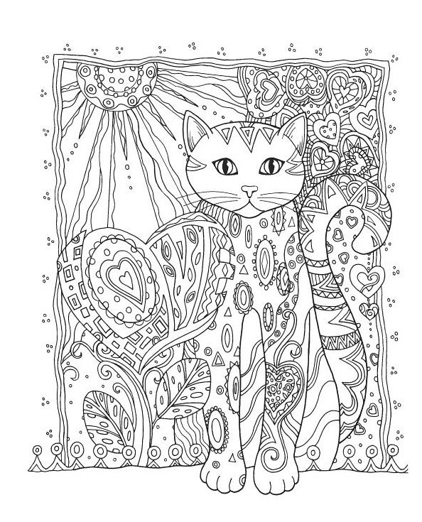 Animal Coloring Pages For Adults Cat 001
