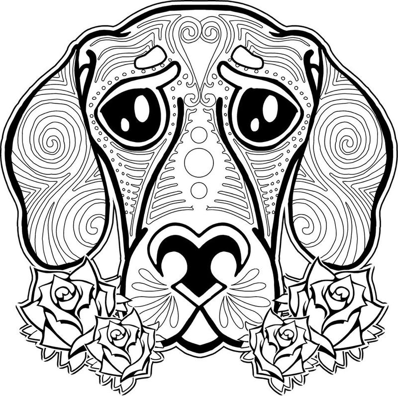 Animal Coloring Pages For Adults Dog 001