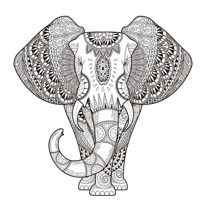 Animal Coloring Pages For Adults Elephant 001