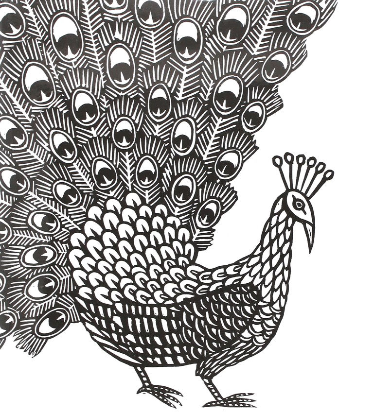 Animal Coloring Pages For Adults Free Peacock 001