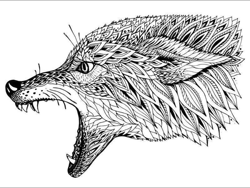 Animal Coloring Pages For Adults Wolf 001