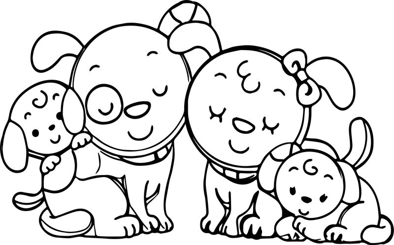 Animal Dog Family Family Coloring Page