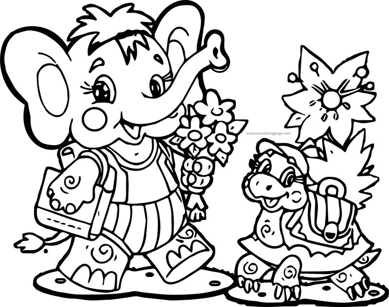 Animal Elephant Turtle School Bag Coloring Page