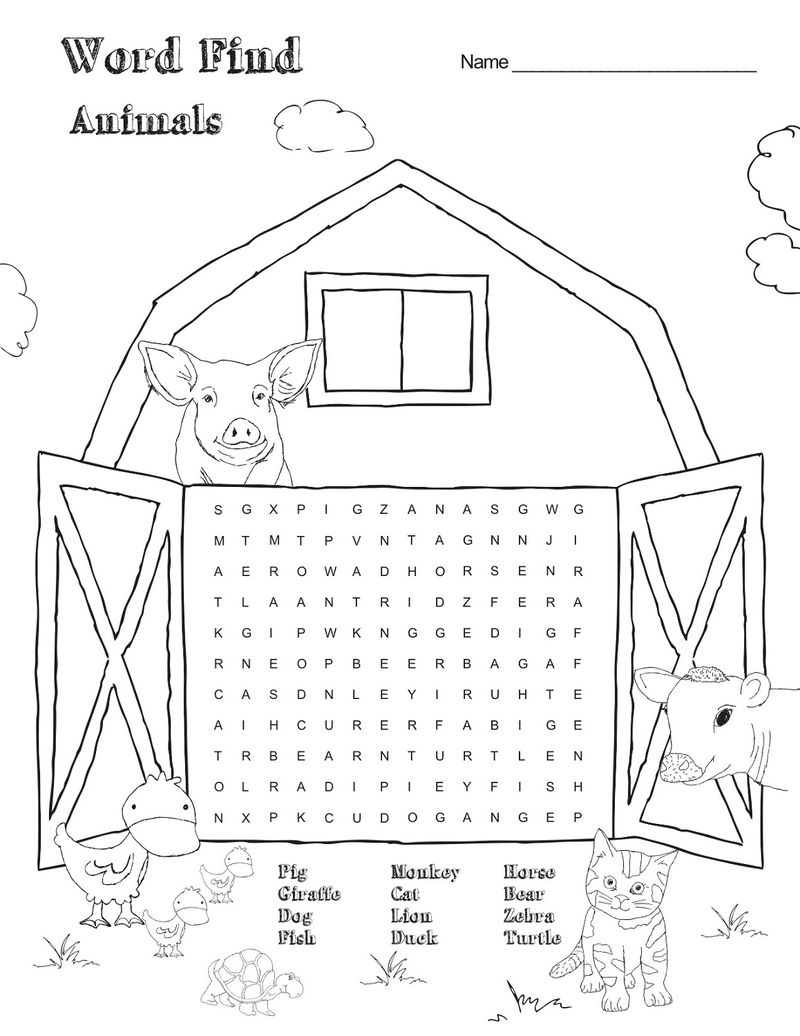 Animal Farm Word Search For Kids