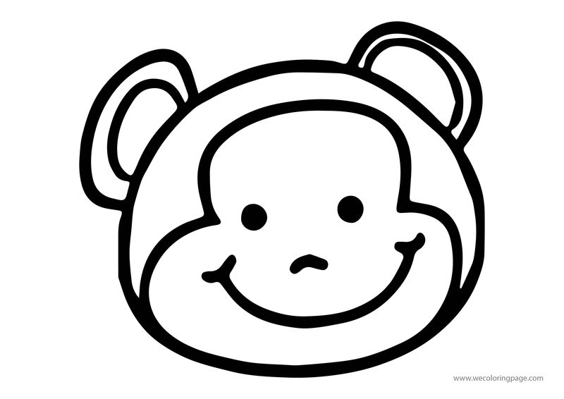 Animals Monkey Face Coloring Page