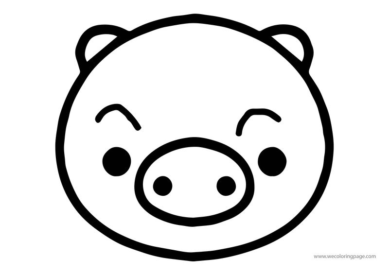 Animals Pig Face Coloring Page