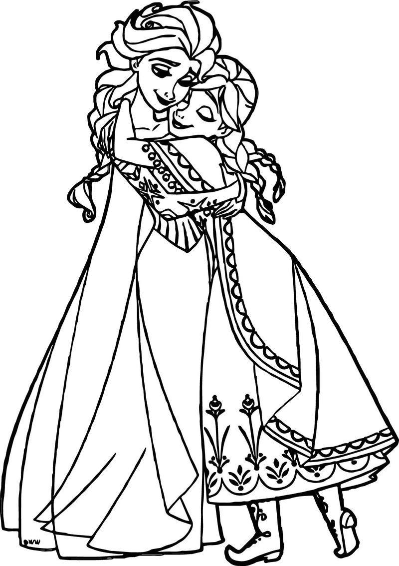 Anna Elsa Hugging Coloring Page