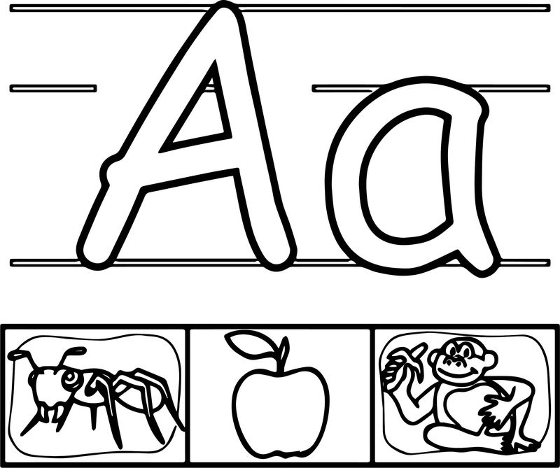 Ant Apple Monkey Abc Coloring Page
