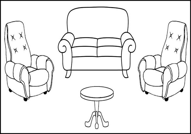 Antique Settee Chair Sofa Small Coloring Page