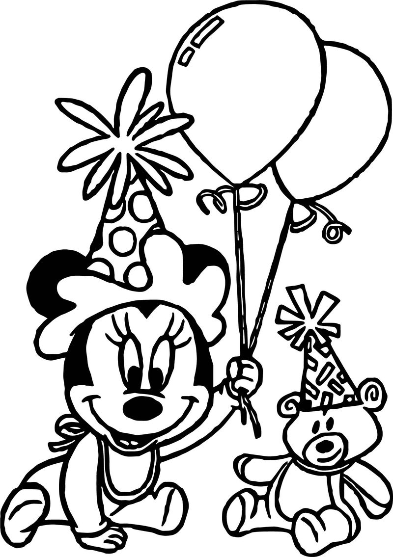 Any Baby Minnie Mouse Birthday Party Coloring Page