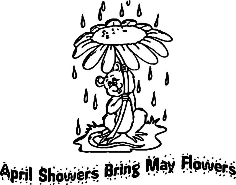 April Showers Bring May Flowers Coloring Pages