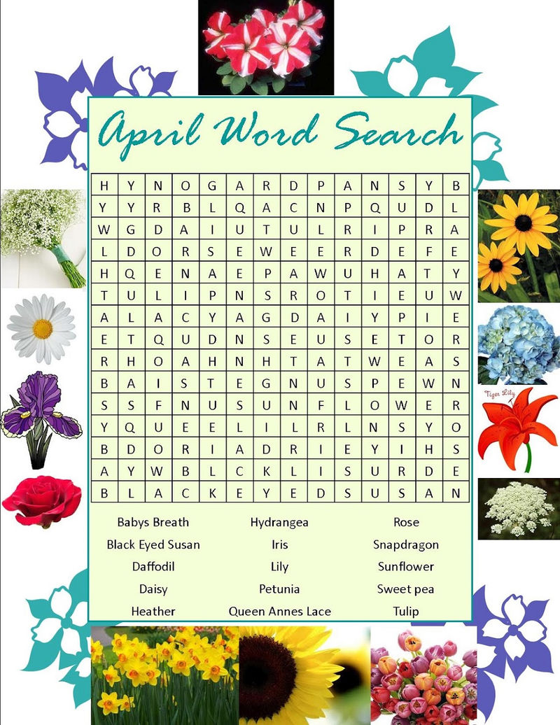 April Word Search Flowers