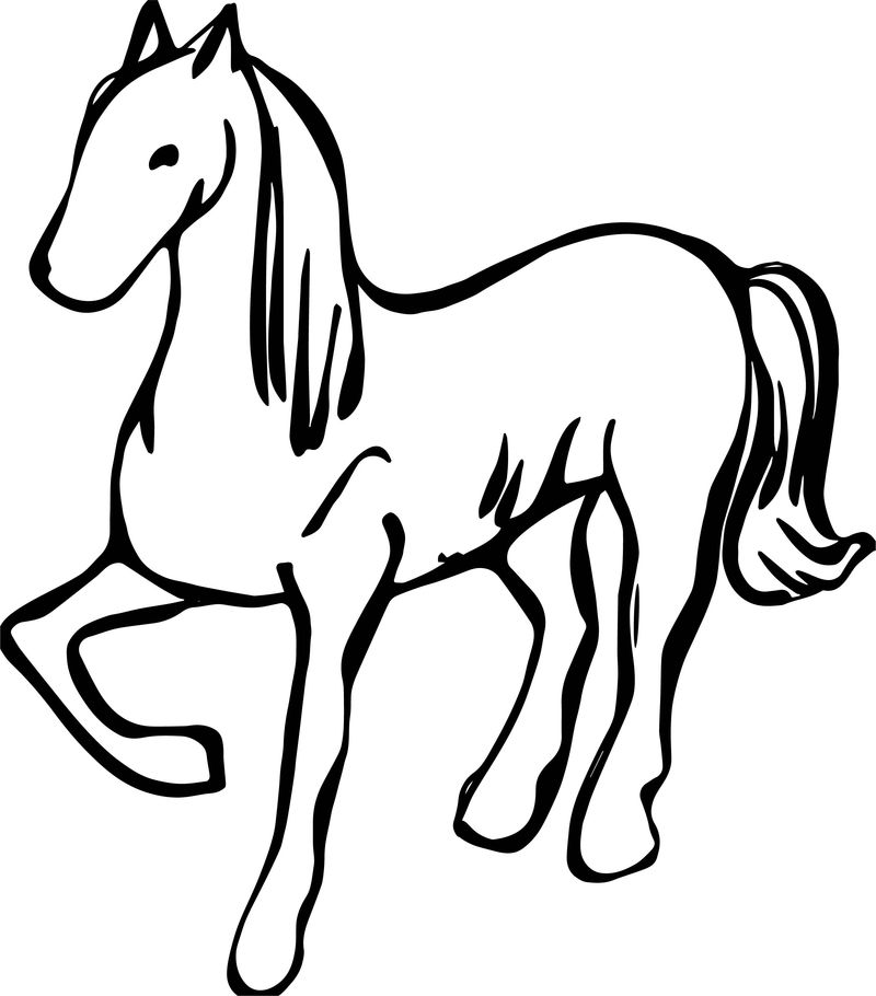Arabian Horse Silhouette Coloring Page