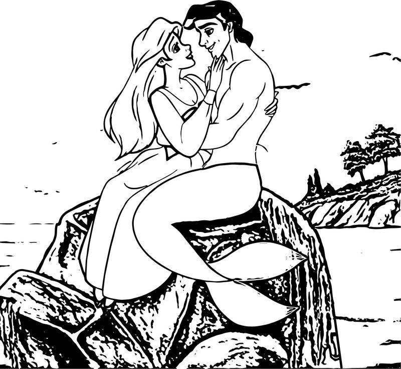 Ariel Mermaid Love On Stone Coloring Page