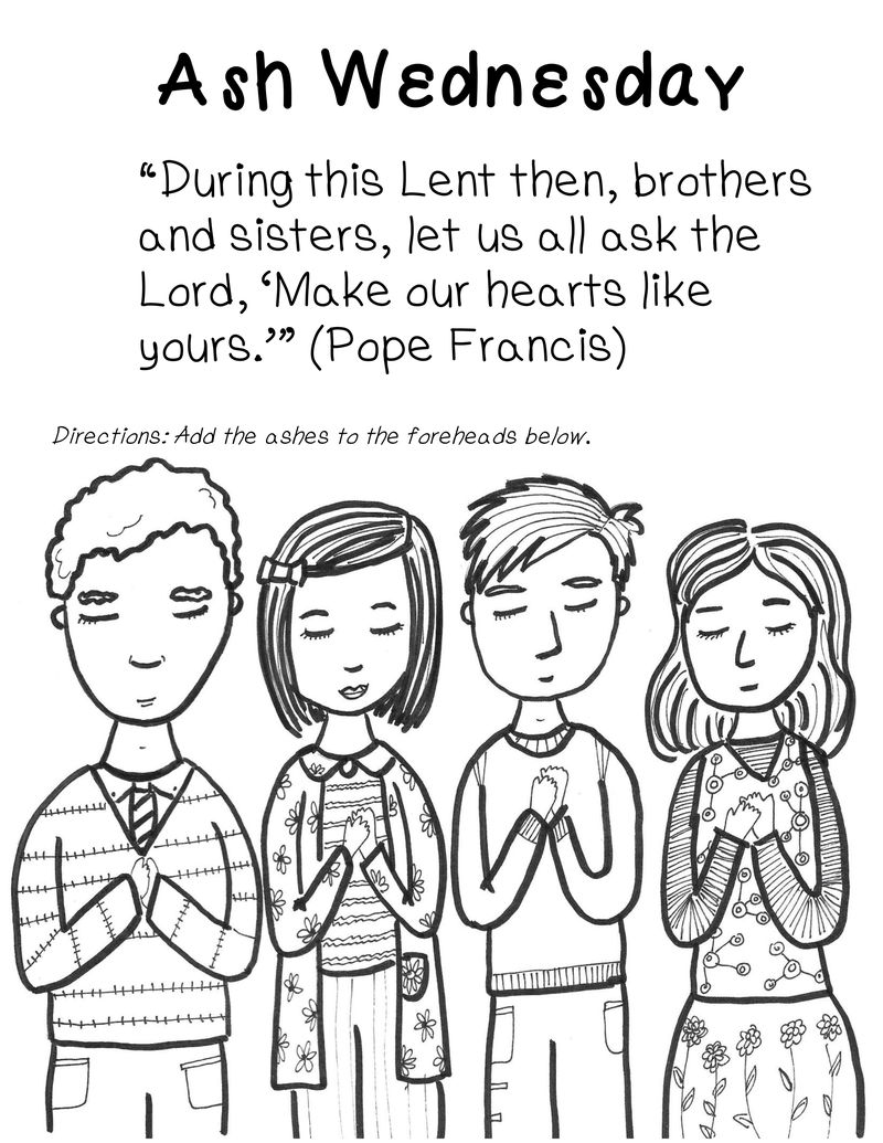 Ash Wednesday Printable Coloring Page