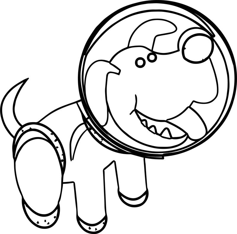 Astronaut Dog Coloring Page
