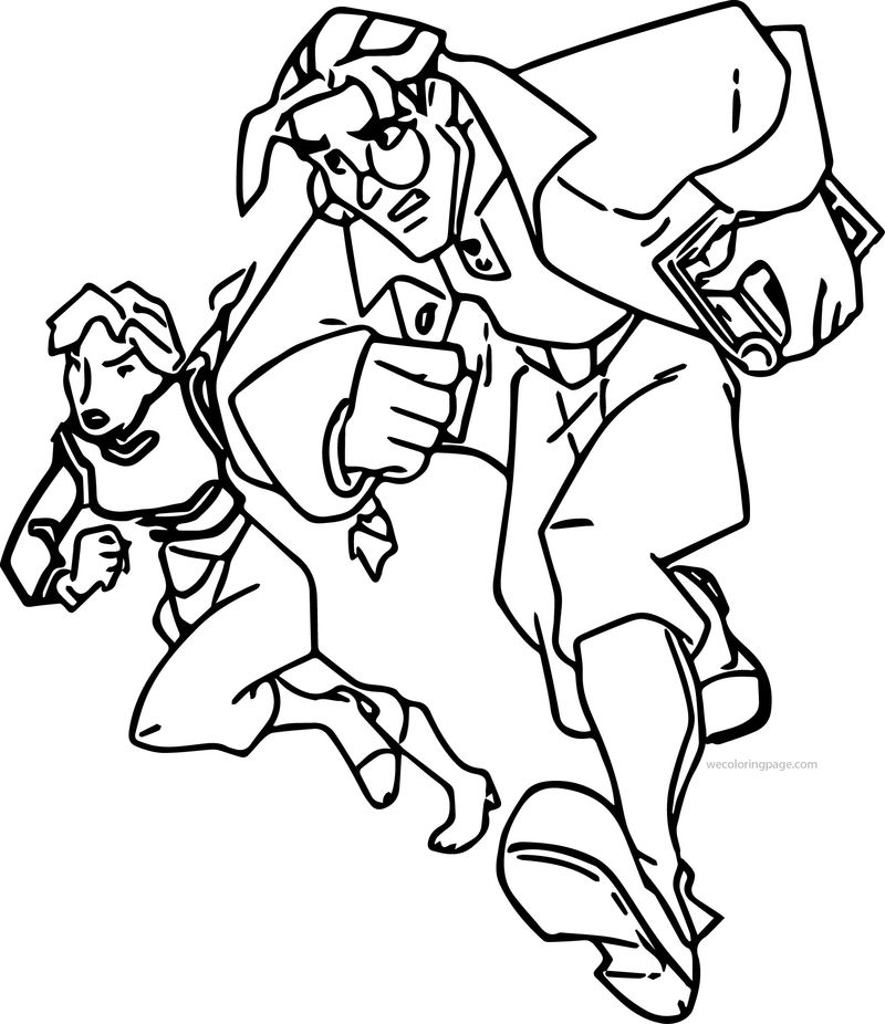 Atlantis The Lost Empire Helga Sinclair And Milo James Thatch Running Coloring Page