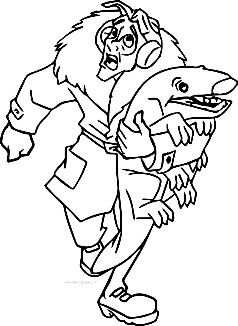 Atlantis The Lost Empire James Thatch Running With Shark Coloring Page