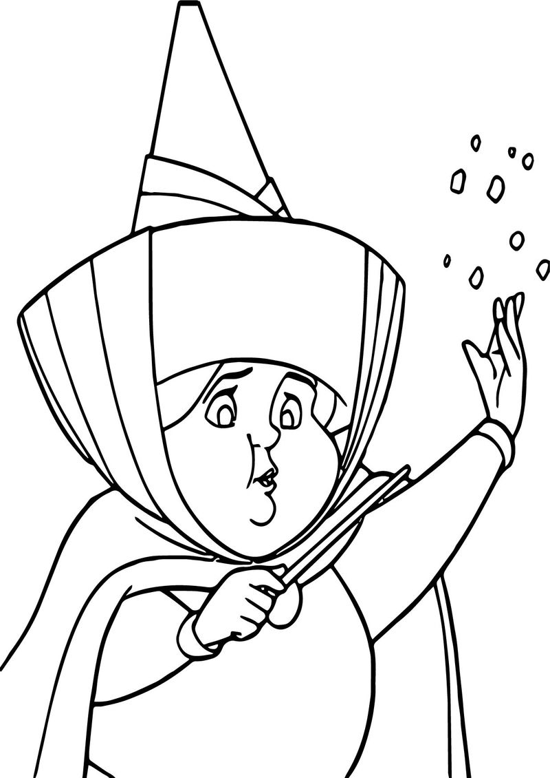 Aurora Flora Fauna And Merryweather Magic Coloring Page