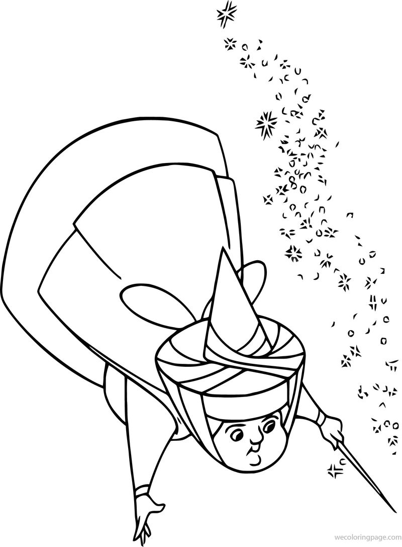 Aurora Flora Fauna And Merryweather Magic Fly Coloring Pages