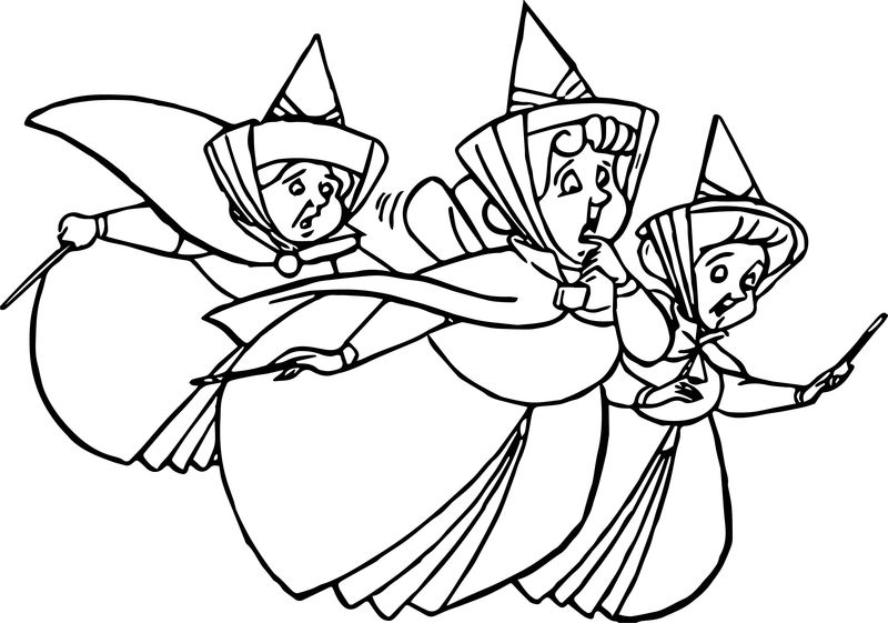 Aurora Flora Fauna And Merryweather Panic Coloring Pages