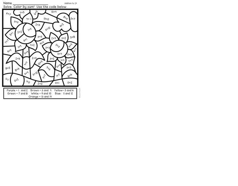 Autumn Addition Coloring Worksheets
