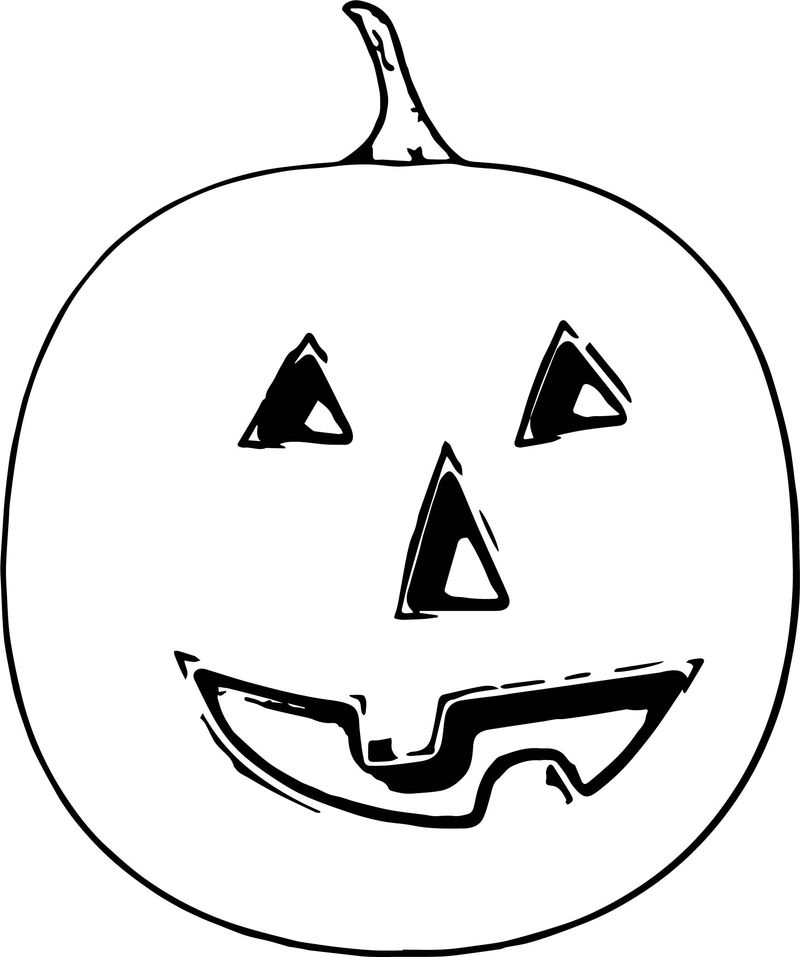 Autumn Halloween Pumpkin Coloring Page