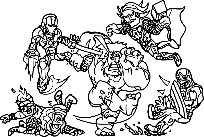 Avengers Attack Enemy Coloring Page