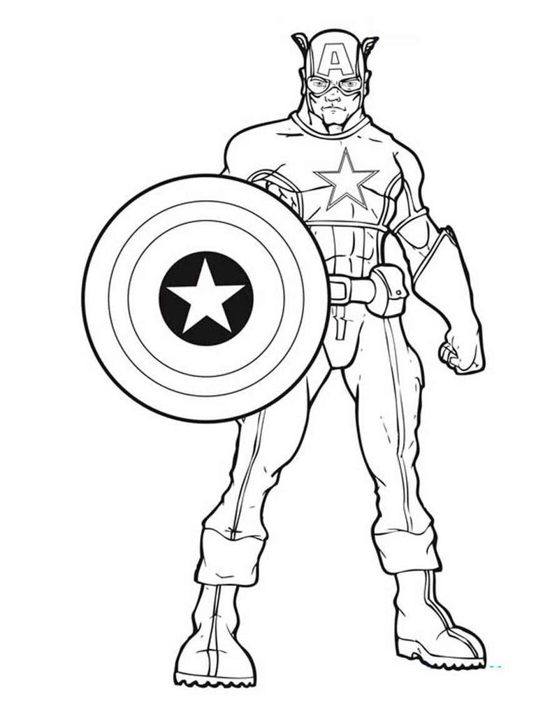 Avengers Coloring Pages Free Captain America 1