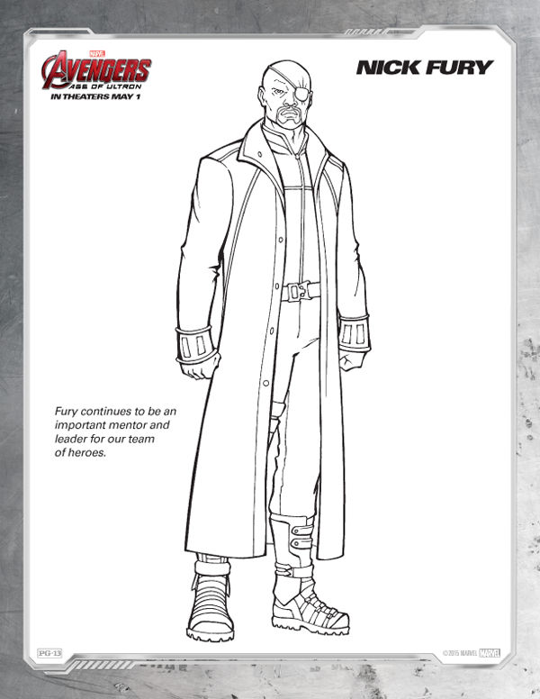 Avengers Coloring Pages Free Nick Fury