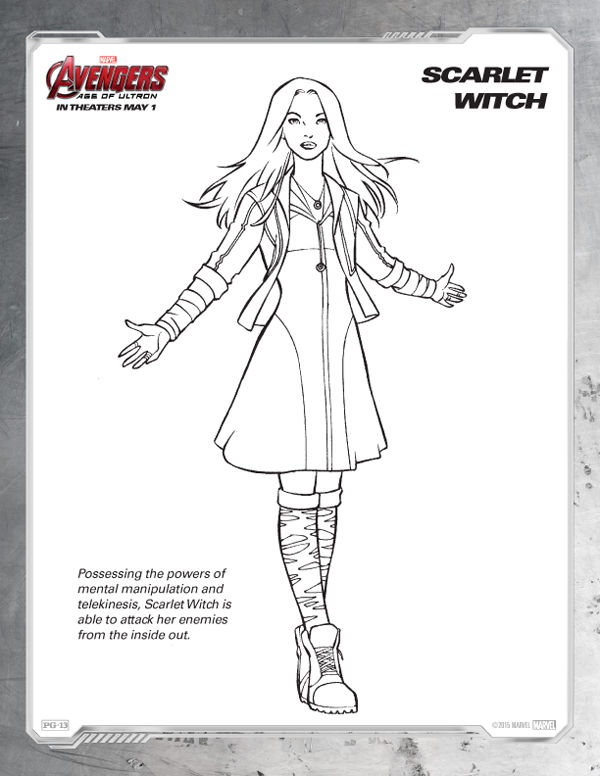 Avengers Coloring Pages Free Scarlet Witch