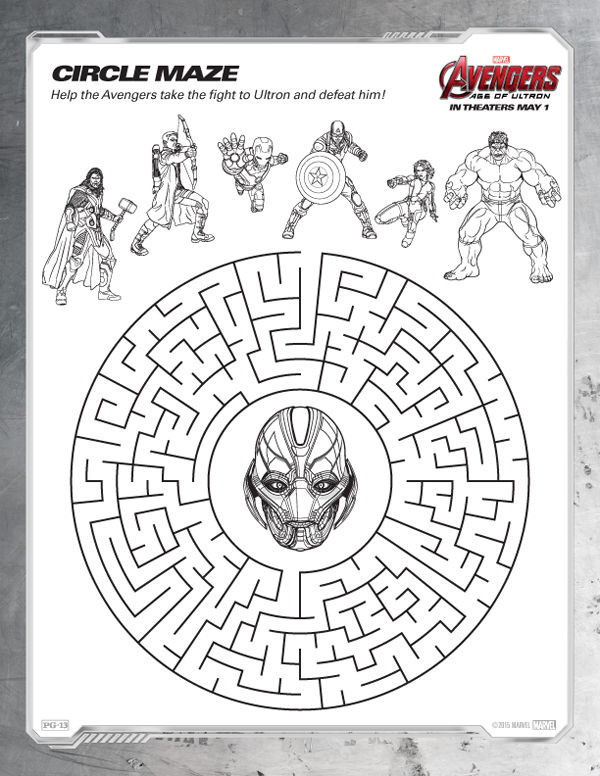 Avengers Coloring Pages Printable Maze