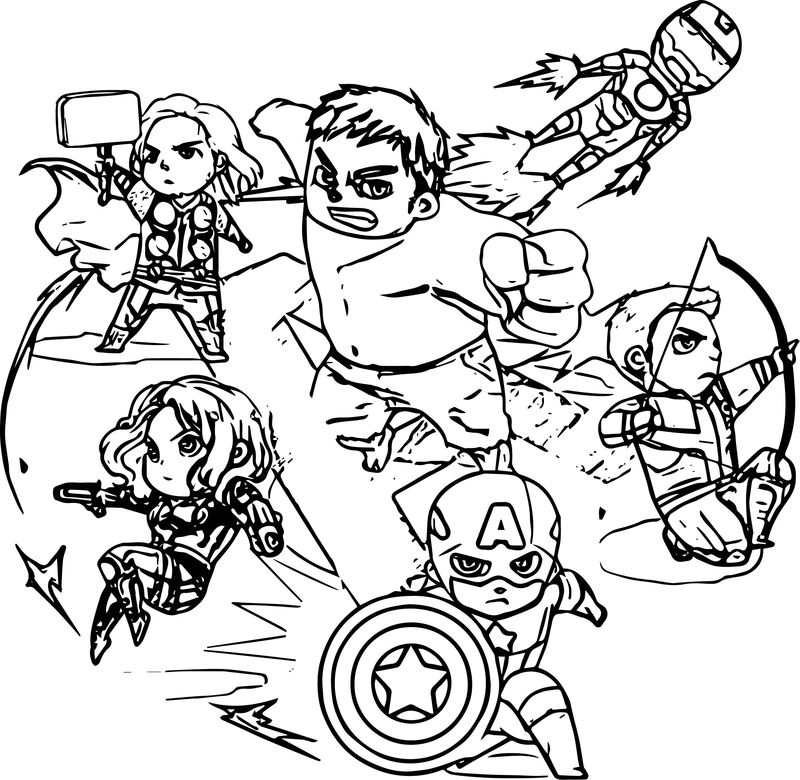 Avengers Fight Time Coloring Page