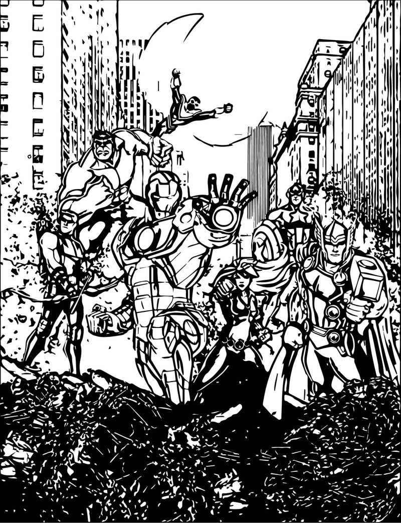 Avengers In City Coloring Page