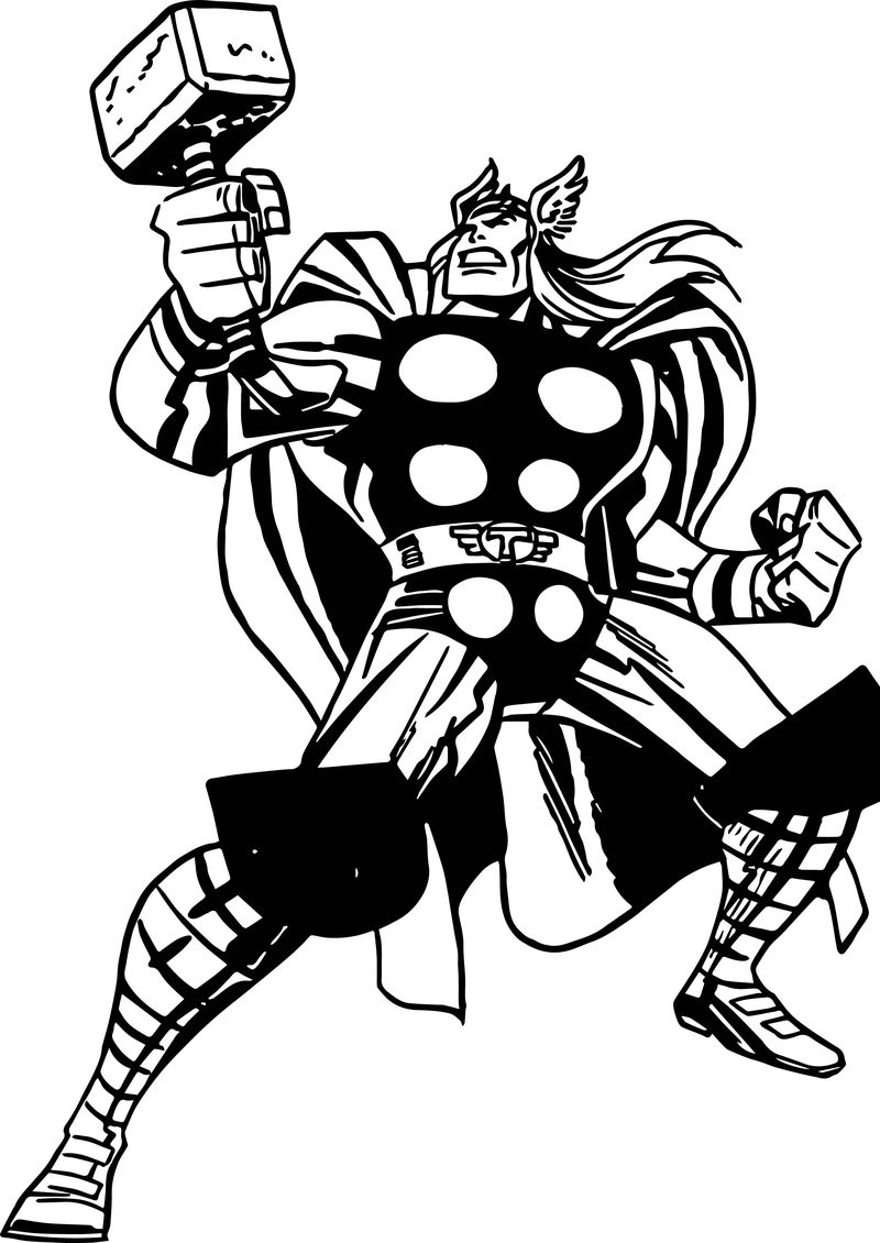 Avengers Thor Anger Coloring Page