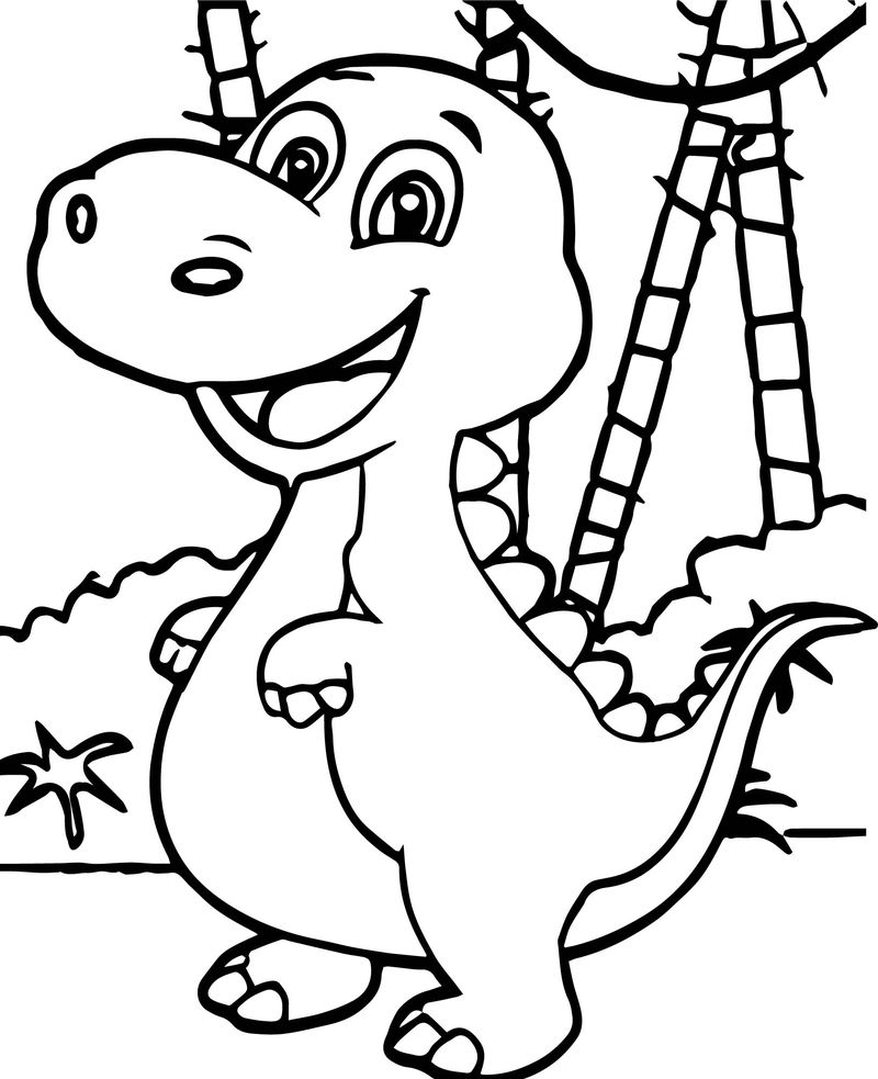 Baby Dinosaur Forest Coloring Page