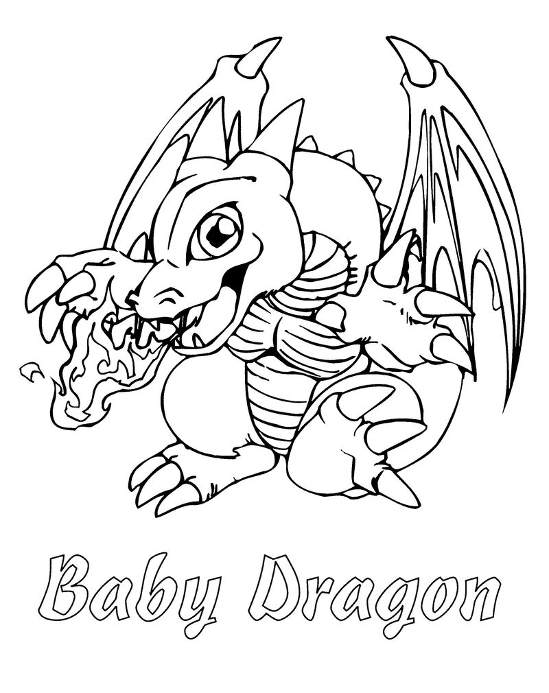 Baby Dragon Coloring Pages Easy