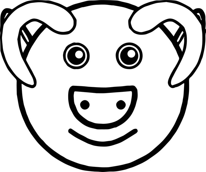 Baby Farm Pig Face Animal Coloring Page
