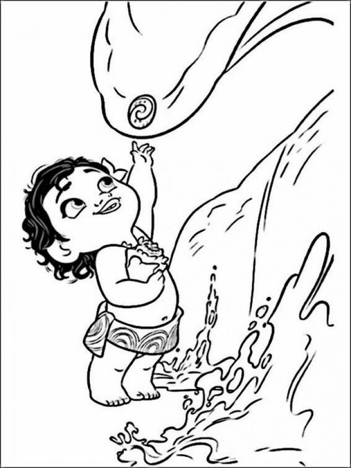 Baby Moana And Heart Of Ta Fiti Coloring Page