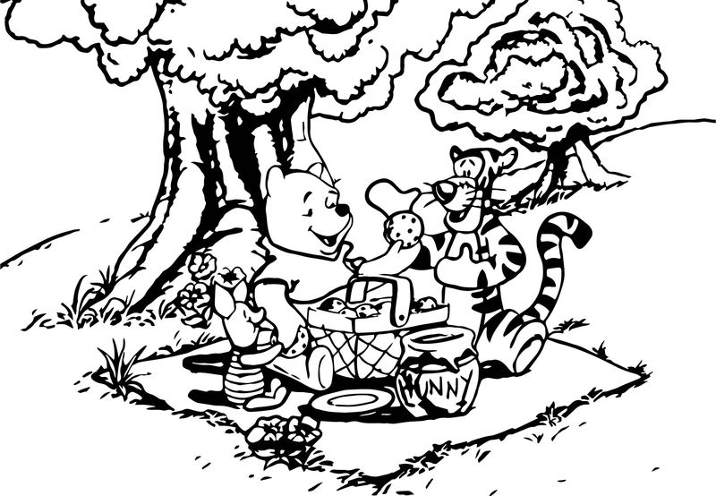 Baby Piglet And Friends Picnic Coloring Page